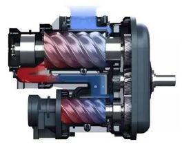 二段压缩的喷油螺杆压缩机机头